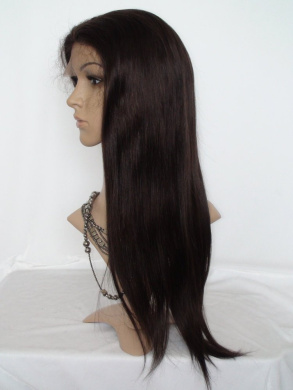 50cm Sina Beauty Colour #2 Best Brazilian Human Straight Long Virgin Hair Glueless Full Lace Wigs For African Americans Bleached Knots Baby Hair