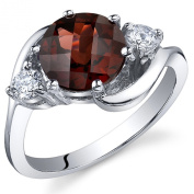 3 Stone Design 2.25 carats Garnet Ring in Sterling Silver Rhodium Nickel Finish Size 5 to 9