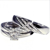 His and Her Trio Wedding Rings Set 0.33ct w 10K White Gold Mens ring 5mm ladies 7mm