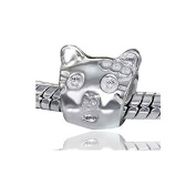 Jewellery Beads 925 Silver Cat Head Materia - Element Silver Cat Beads for Bracelets European Beads #641