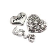 Set Of 3 FAMILY Love Heart Floating Charms For Living Memory Glass Lockets Pendant Necklace Gift