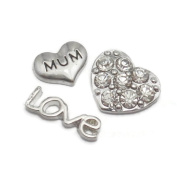 Set Of 3 MUM Love Heart Floating Charms For Living Memory Glass Lockets Pendant Necklace Gift