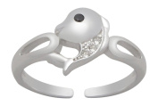 AG2AU Sterling Silver Toe Ring - Whale with Cubic Zirconia