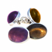 Amethyst and smoky quartz cufflinks in sterling silver 925 - Stone size 10x14mm