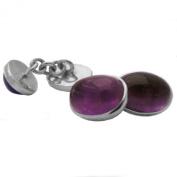Amethyst cufflinks in sterling silver 925 - Stone size 10x14mm