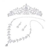 Bridal Wedding Jewellery Set Rhinestone Tiara Crown Necklace Earrings
