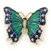 Green/ Dark Blue Enamel, Crystal Butterfly Brooch In Gold Tone - 55mm L