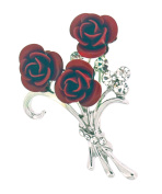 Jodie Rose Silver Colour English Red Rose Brooch with Crystals