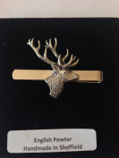 A21 Stag's Head English Pewter emblem on a Tie Clip (slide) Handmade in sheffield comes with PrideInDetails gift box