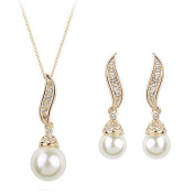 Elegant Crystal Pearl Drop Angle Wing Earrings Necklace Jewellery Sets for Women