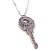 Sherlock 221B Baker Street House Key Necklace. Key Size 4.5cm x 2cm
