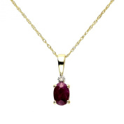 Ivy Gems 9ct Yellow Gold Ruby and Diamond Pendant with 46cm Prince of Wales Chain