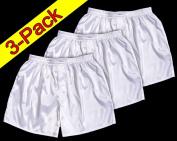 (XL) 3-Pack White Boxer Shorts Underwear Men Sleepwear Satin