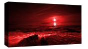 LARGE RED SEASCAPE CANVAS PICTURE WALL ART A1 90cm X 50cm