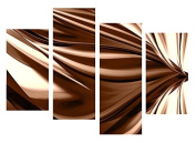 LARGE BROWN CREAM ABSTRACT CANVAS WALL ART PICTURE SPLIT 4 PANELS 100cm X 70cm