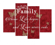 """FAMILY QUOTE Where Life Begins Canvas Wall Art Print- MULTI 4 PANEL 40"""" X 28"""" (100CM) - RED TONES"""