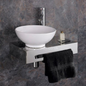 Clickbasin Casoria 32cm Dia Round Bathroom Sink With Stainless Steel Wall Mounted Shelf Kit With Tap