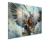 Picture - ART ON CANVAS PRINT Archangel_Fantasy 3 parts ( 120cm x 90cm ) Pictures completely framed on large frame. Art print Images realised as wall picture on real wooden framework. A canvas picture is much less expensive than an oil painting poste ..