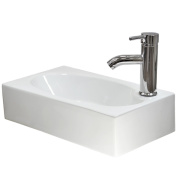 Small Bathroom Sink Compact Rectangle Cloakroom Basin Wall Hung White Ceramic Modern FREE Tap & Waste