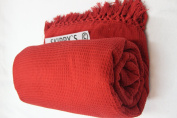 Red King 260 x 260cm WAFFLE HONEYCOMB THROW BEDSPREADS 100% COTTON