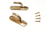 8 Pairs Curtain Tie Hold Back Hooks Modern Solid Brass 45Mm With Screws