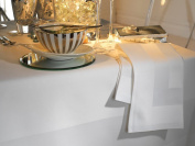 Elegant 100% Cotton Plain Satin Band Table Linen In White - Tablecloth 178/274cm