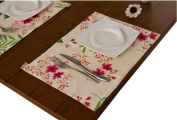 Set of 4 Blossoming Orchid Place Mats Canvas Floral Placemats