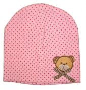 Baby Hat, Cap, Light Pink, Teddy Bear with Bow, Beanie Cap with 2 Layers, Age 6-18 months