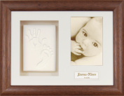 Anika-Baby BabyRice Baby Handprint Footprint Kit Soft White Clay Dough Dark Wood Box Photo Display Frame