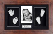 BabyRice Large Baby Casting Kit (great for Twins!), 37cm x 22cm Mahogany Dark Wood effect Frame, Black mount, Silver metallic paint