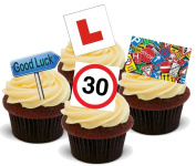 LEARNER DRIVE / PASSED TEST MIX - Standups 12 Edible Standup Premium Wafer Cake Toppers - 2 x A5 sheet - 12 images
