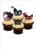MASQUERADE BALL VARIOUS COLOURS MIX - Standups 12 Edible Standup Premium Wafer Cake Toppers - 2 x A5 sheet - 12 images