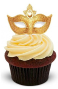 Masquerade Ball Mask Gold with Jewel - Standups 12 Edible Standup Premium Wafer Cake Toppers - 2 x A5 sheet - 12 images