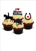 NOVELTY HORSE RIDING MIX - Birthday / Sport / Special Occasion Standups 12 Edible Standup Premium Wafer Cake Toppers