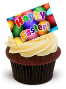 NOVELTY BRIGHT HAPPY EASTER EGG DESIGN - Standups 12 Edible Standup Premium Wafer Cake Toppers