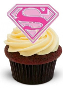 NOVELTY PINK SUPER MUM Mothers Day - Standups 12 Edible Standup Premium Wafer Cake Topper