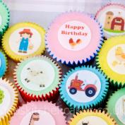 Farm Cupcake Toppers - Farm Animal - 24 x 4cm - Edible Wafer - Pre - Cut