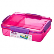 Sistema 975ml Multi Compartment Snack Attack Duo Lunch Box, Pink