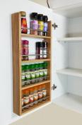 4 Tier Solid Oak Spice Rack - Kitchen Back of Door / Side of Cupboard - 24 Jar Capacity
