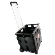 35kg Multi Purpose Heavy Duty Folding Trolley Wheeled Shopping Storage Crate Box Shopmonk