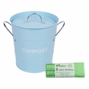 Light Blue Metal Kitchen Compost Caddy & 50x 6L All-Green Biobags - Composting Bin for Food Waste Recycling