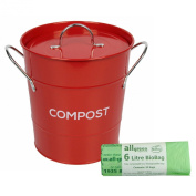 Red Metal Kitchen Compost Caddy & 50x 6L All-Green Biobags - Composting Bin for Food Waste Recycling