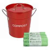 Red Metal Kitchen Compost Caddy & 150x 6L All-Green Biobags - Composting Bin for Food Waste Recycling