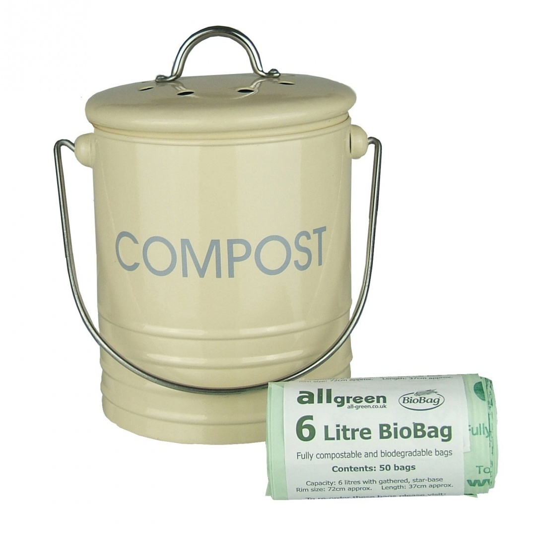 Cream Metal Kitchen Compost Caddy & 50x 6L All-Green Biobags ...
