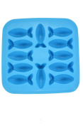 Fish Shapes Flexible 12 Ice Cube Tray Mould Blue Rubber Novelty Gag Gift