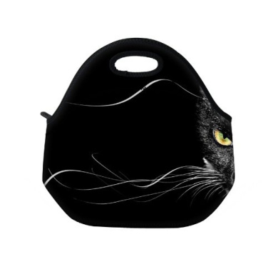 New Fashion Travel Outdoor Cooler Thermal Waterproof Lunch Bag Picnic Tote Box Container Insulated Zip Out Removable School Carry Handle Tote Lunch bag - Black Cat D-10092