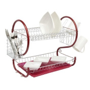Neotechs® Red Deluxe 2 Tier Chrome Plate Dish Cup Cutlery Drainer Rack Drip Tray Plates Holder