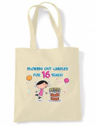 Blowing Out Candles for 16 Years 16th Birthday Tote / Shoulder Bag