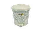 5.5 Litre RATTAN CREAM Pedal Bin Bathroom Waste Dustbin Kitchen Wicker Effect