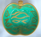 Painted Apple Dish, of bone china a multi functional small bowl, for jewellery, cufflinks, olives, dipping oils - 'Emerald Zebras' - a perfect Velantines present for him or her; luxury gift bag and box